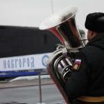 Церемония подъема флага на подводной лодке «Великий Новгород»